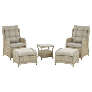 Outdoor Lounge Set for 2 Beige Faux Rattan Aluminium Frame Polyester Cushions Tempered Glass Table with Shelf Reclining Traditional Beliani