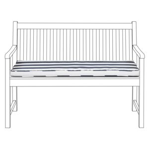 Outdoor Seat Pad Blue and White Polyester Water Resistant Striped Bench Cushion 112 x 54 cm Garden Beliani