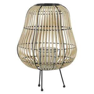 Lantern Light Brown Willow Wood 44 cm with Candle Holder Standing Decoration Beliani