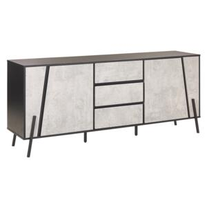 Sideboard Concrete Effect with Black 2 Cabinets 3 Drawers Metal Legs Industrial Design Beliani