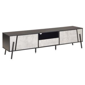 TV Stand Concrete Effect and Black Metal Legs for up to 75ʺ with 1 Drawer and 2 Cabinets Industrial Style Beliani