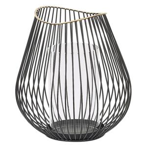 Lantern Black and Gold Metal 22 cm with Glass Insert Candle Holder Decoration Beliani