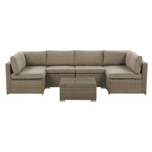 Outdoor Lounge Set Brown Faux Rattan Cushions Modular Corner Sofa for 6 People Coffee Table with Tempered Glass Top Modern 7 Piece Garden Set Beliani