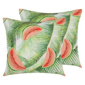 Garden Cushions Green Multicolour Polyester Square 45 cm Thick Filling Outdoor Scatter Pillow Modern Floral Motif Beliani