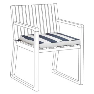 Seat Cushion for Garden Chair Navy Blue and White Stripes Water Resistant Fabric Beliani