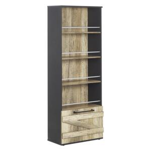 Bookcase Light Wood and Black Particle Board 163 cm Barn Style Beliani