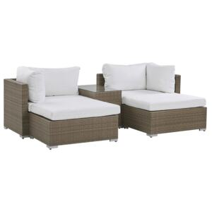 Garden Lounge Set Brown White Cushions PE Rattan for 2 People 3 Piece Outdoor Set with Side Table Beliani