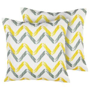 Set of 2 Garden Cushions Yellow and Grey Multicolour Polyester Chevron Pattern 45 x 45 cm Modern Outdoor Decoration Water Resistant Beliani