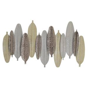 Wall Decor Feathers Gold and Silver Metal 66 x 37 cm Industrial Modern Beliani