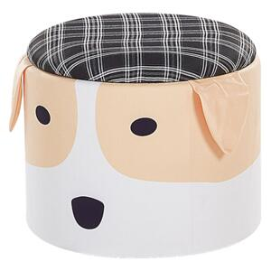 Kids Pouffe Multicolour Upholstered Dog Footstool with Storage for Children Beliani