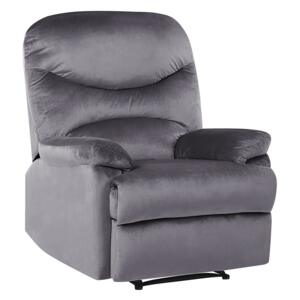 Recliner Chair Grey Velvet Upholstery Push-Back Manually Adjustable Back and Footrest Retro Design Armchair Beliani