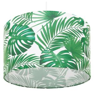 Pendant Lamp White and Green Fabric Drum Shade Leaf Pattern Ceiling 1-Light Beliani