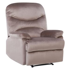 Recliner Chair Taupe Velvet Upholstery Push-Back Manually Adjustable Back and Footrest Retro Design Armchair Beliani