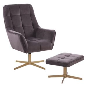 Armchair and Footstool Taupe Velvet Upholstery Gold Metal Legs Modern Retro Traditional Living Room Accent Piece Beliani
