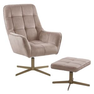 Armchair and Footstool Beige Velvet Upholstery Gold Metal Legs Modern Retro Traditional Living Room Accent Piece Beliani