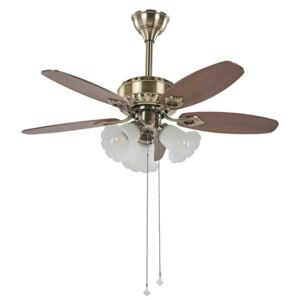 Ceiling Fan with Light Gold and Dark Wood Metal Decorative Crystals 5 Blades Modern Design Living Room Lights Beliani