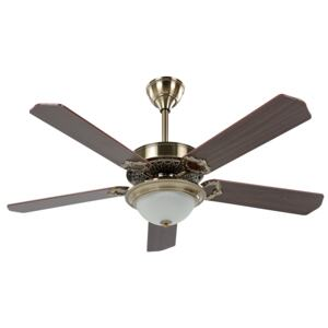 Traditional Ceiling Fan with Light Gold and Dark Wood Metal 5 Blades Remote Control Beliani