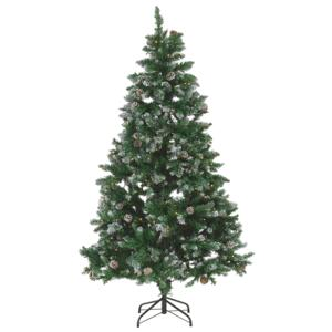 Artificial Christmas Tree Green Pre Lit 180 cm Synthetic Show Frosted Flocked Branches LED Fairy Lights Pine Cones Holiday Beliani