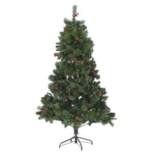 Artificial Christmas Tree Green Pre Lit 180 cm Synthetic Hinged Branches LED Fairy Lights Pine Cones Holly Berries Holiday Beliani