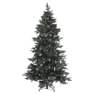 Artificial Snow Christmas Tree Green PVC Metal Base 210 cm with Pine Cones Holly Berries Traditional Beliani