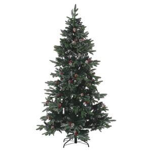 Artificial Snow Christmas Tree Green PVC Metal Base 180 cm with Pine Cones Holly Berries Traditional Beliani