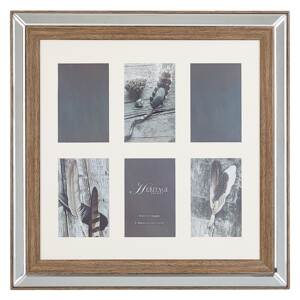 Photo Frame Dark Wood 50 x 50 cm for 6 Pictures 10 x 15 cm Collage Aperture Beliani