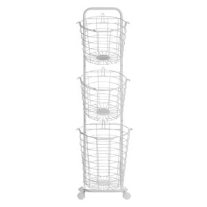 3 Tier Wire Basket Stand White Metal with Castors Handles Detachable Kitchen Bathroom Storage Accessory for Towels Newspaper Fruits Vegetables Beliani