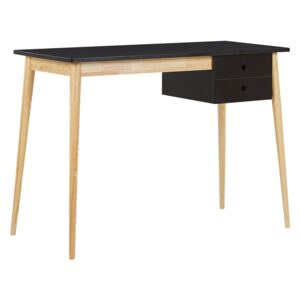 Home Office Desk Black and Light Wood MDF Wood 106 x 48 cm with Drawer Retro Beliani