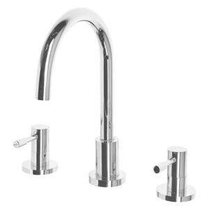 Basin Mixer Tap Silver Brass Two Levers Curved Spout Beliani