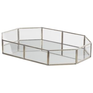 Decorative Tray Silver Stainless Steel and Glass Mirrored Octagon Shape 32 x 22 cm Accent Piece for Jewellery Candles Beliani