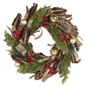 Christmas Wreath Green with Red Synthetic Material Wooden Pine Cones Cranberry Traditional Design Round 35 cm Beliani