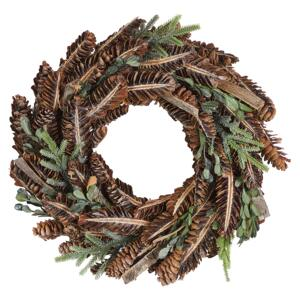 Christmas Wreath Brown Wooden Pine Cones Synthetic Twigs Traditional Design Round 35 cm Beliani