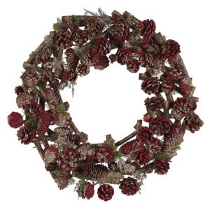 Christmas Wreath Dark Wood with Red Synthetic Material Wood Pine Cones Traditional Design Round 50 cm Beliani