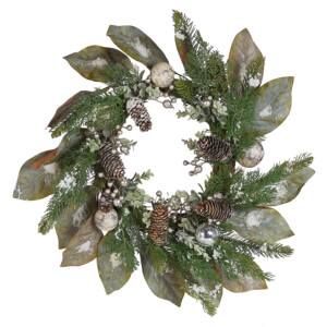 Christmas Wreath Green Synthetic Material Wood Pine Cones Snow Traditional Design Round 60 cm Beliani