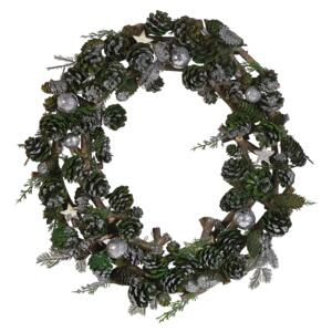 Christmas Wreath Green with Silver Synthetic Material Wood Pine Cones Traditional Design Round 50 cm Beliani