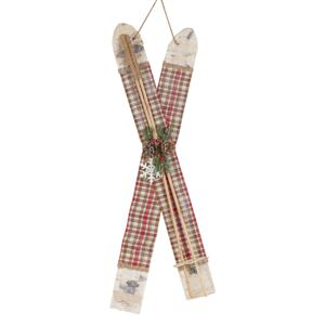 Wall Decoration Red Plastic Wood Polyester Skis with Sticks Christmas Decoration Wall Hanging 82 cm Beliani