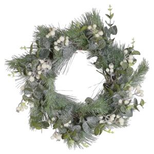Christmas Wreath Green Synthetic Material Natural Wood Artificial Snow Traditional Design Round 54 cm Beliani