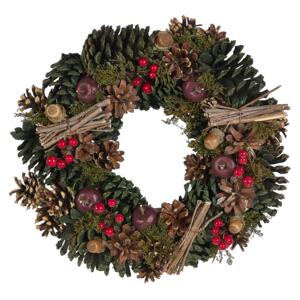 Christmas Wreath Green Synthetic Material Wood Pine Cones Traditional Design Round 35 cm Beliani