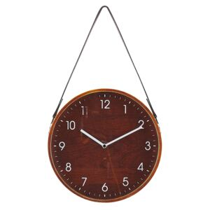 Wall Clock Brown MDF Faux Leather Vintage Design Round 26 cm Beliani