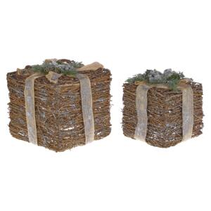 Decorative Gift Boxes Silver Wooden Christmas Decor Set of 2 Square Various Sizes Rustic Design Beliani