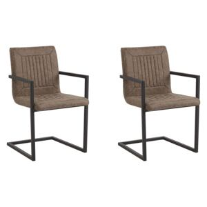 Set of 2 Cantilever Dining Chairs Brown Faux Leather Upholstered Chair Office Conference Room Beliani