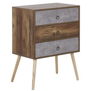 Sideboard Dark Wood with Grey Particle Board Rustic Design Chest 3 Drawers Living Room Storage Beliani