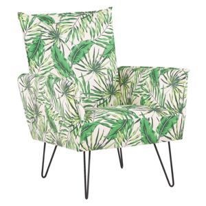 Armchair White with Green Fabric Leaf Pattern Metal Hairpin Legs Living Room Bedroom Accent Chair Beliani