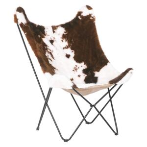 Armchair Brown with White Faux Fur Black Metal Hairpin Legs Butterfly Chair Cow Pattern Traditional Retro Living Room Bedroom Beliani