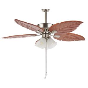 Ceiling Fan with Light Silver Metal Wooden Leaf-Shaped Reversible Blades with Pull Chain Speed Control Retro Design Beliani