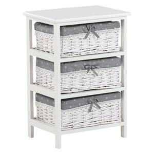 Storage Unit White Wood MDF 58 x 40 cm 3 Wicker Baskets with Grey Fabric Lining Bedside Table Children's Room Furniture Beliani