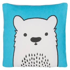 Kids Cushion Blue Fabric Bear Image Pillow with Filling Soft Children's Toy Beliani
