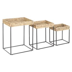 Nest of 3 Side Tables Light Wood with Black Seagrass Top Iron Frame Natural Wicker Living Room Rustic Beliani