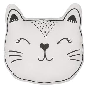 Kids Cushion Black and White Fabric Cat Shaped Pillow with Filling Soft Children's Toy Beliani