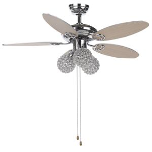 Ceiling Fan with Light Silver Metal 3 Acrylic Glass Round Shades Reversible Blades with Pull Chain Speed Control Retro Design Beliani